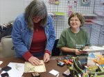 Terry and Mary Kay working VERY hard in Julie Fair's class at Scrapbooker's Dream!