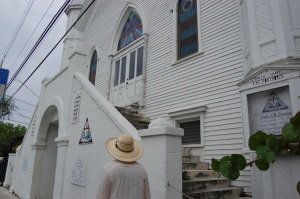 Keith stops to view an old church on the way to Hemingway's home