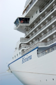 A view of the front of our ship from the shore